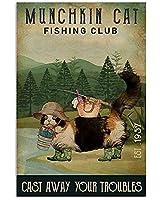 2個 楽しいメタルティンサインマンチカン猫があなたの悩みを捨てる釣りクラブバーカフェ壁の装飾8x12インチ メタルプレート レトロ アメリカン ブリキ 看板