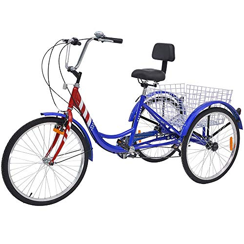 Adult Tricycles, 7 Speed Adult Trikes 20/24/26 inch 3 Wheel Bikes with Large Basket for Recreation, Shopping, Picnics Exercise Men's Women's Cruiser Bike (Star Strips, 20' Wheels/7 Speed)