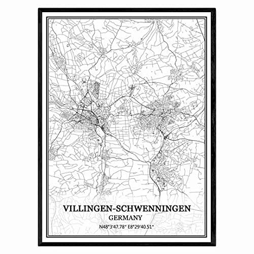 Villingen-Schwenningen Deutschland Karte Wandkunst Leinwand drucken Poster Artwork ungerahmt moderne Schwarz-Weiß-Karte Souvenir Geschenk Home Decor