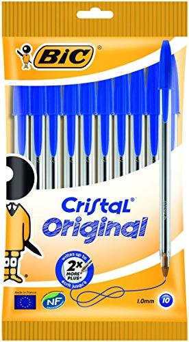 BIC Kugelschreiber Cristal Original, in Blau, Strichstärke 0,4 mm, 10er Pack, Ideal für das Büro, das Home Office oder die Schule