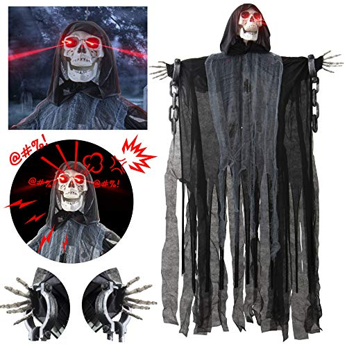 Animated Grim Reaper with Shackles Chains Halloween Decoration