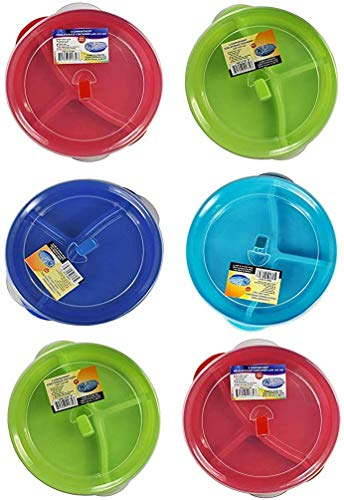 (Set of 6) Microwave Food Storage Tray Containers - 3 Section / Compartment Divided Plates w/ Vented...