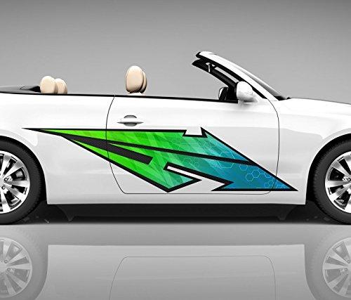 2x Seitendekor 3D Autoaufkleber Blitz grün Digitaldruck Seite Auto Tuning bunt Aufkleber Seitenstreifen Airbrush Racing Autofolie Car Wrapping Tribal Seitentribal CW172, Größe Seiten LxB:ca. 160x40cm