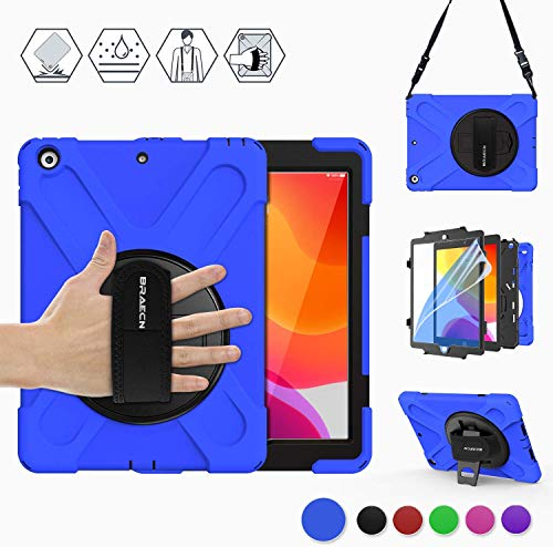BRAECN iPad 7th Generation Case, iPad 10.2 Case, Rugged Protective Heavy Duty Kids Friendly Case with Screen Protector, Shoulder Strap, Hand Strap, Kickstand for iPad 10.2 Inch 7th Gen 2019 Model-Blue