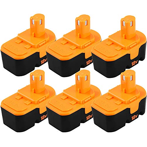 [Upgraded to 6-Pack] 3600mAh Replacement for Ryobi 18v Battery ONE + P101 ABP1801 ABP1803 BPP1820 130224028 130224007 Compatible with Ryobi 18 Volt Cordless Power Tools Batteries