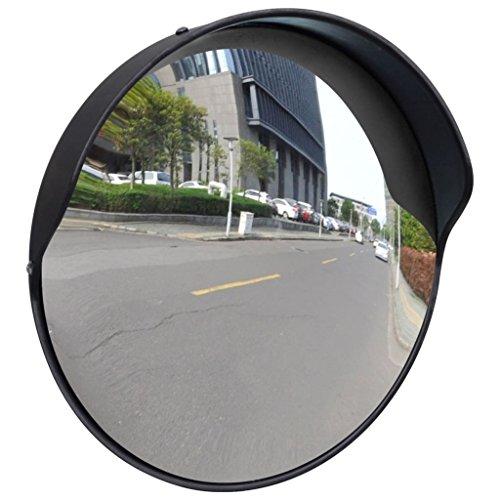 Galapara Wetterfester Verkehrsspiegel | Spiegel rund | erleichtert das EIN- und Ausparken - Ø30 cm | unzerbrechlich, mit Halterung, für Straßenverkehrssicherheit und die Sicherheit Shop | Schwarz