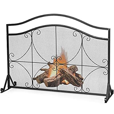 """Tangkula 44.5"""" X 33"""" Inch Fireplace Screen, Decorative Iron Single Panel Fire Spark Guard Gate w/Metal Mesh, Rustproof Solid Free Standing Fire Screen for Baby or Pet Safe, Outdoor or Indoor Use from tangkula"""