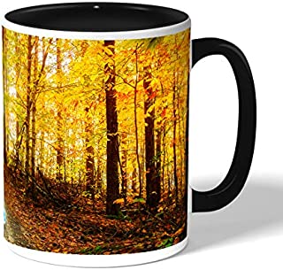 autumn leaves Coffee Mug by Decalac, Black - 19039