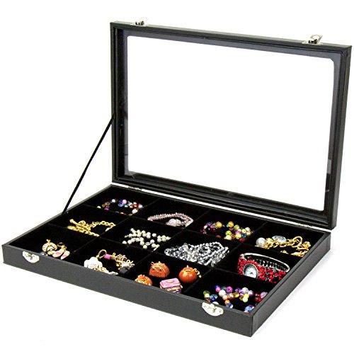 H & S coperchio in vetro braccialetto anello gioielli display Storage box Tray case–12griglia