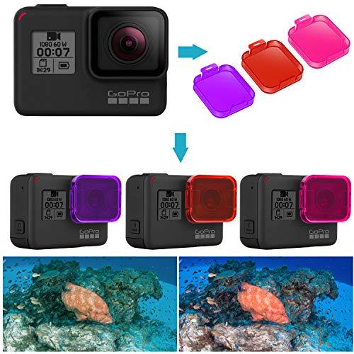Neewer 3-Pack Kit Filtros Buceo para GoPro Hero 7/6/5 - Adjuntar Directamente en Lente GoPro - Mejorar Color para Videos Subacuáticos y Fotografías para Buceo (Rojo/Rosa/Magenta)