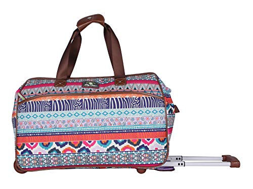 Lily Bloom Luggage Designer Pattern Suitcase Wheeled Duffel Carry On Bag (22in, Tribal Stripe Cream)