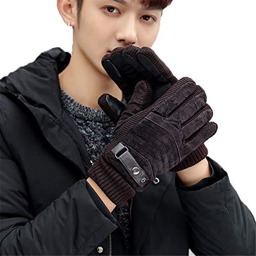 Herren Schweinsleder-Handschuhe, Winter, warm, dick, kaltdicht, winddicht, für Outdoor-Aktivitäten, Radfahren, Motorrad, super weiche Fäustlinge Gr. 8, braun