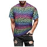 Camiseta para Hombres Linaza Manga Corta Verano Color Oscuro Slim-Fit Short-Sleeve Pullover de Hombre Tops Playeras Fashion Cuello Redondo Diseño Gráfico Divertido