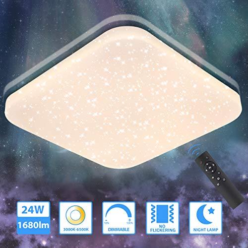LED Deckenleuchte Dimmbar 24W, Oeegoo 1680Lm Sternenhimmel Deckenlampe Mit Fernbedinung, 3000K-6500K Stufenlos Dimmbar Sternenlicht als Nachtlicht, Schlafzimmerlampe, Kinderzimmerlampe
