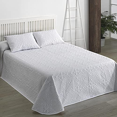 Camatex - Colcha bouti Floral - Cama 200 cm (300x270) - Color Blanco