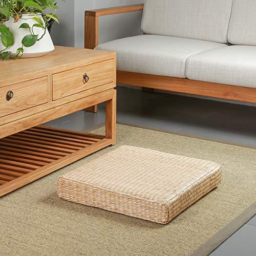 Eshow Japanese Tatami Cushion Floor Pillow Zafu Natural Seat Furniture Meditation Furniture Floor Mat Cushion Multi-Functional Handmade Breathable Square,Beige