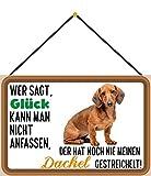 Blechschild Con cordón 30 x 20 cm, decoración para perros con texto en alemán 'Wer SAGT Glück kann Man nicht anfassen, der hat noch nie einen Dackel gestreichelt - Blechemma