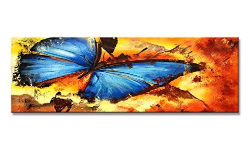 Visario Bild & Kunstdruck der Deutschen Marke 120 x 40 cm 5708 Bilder auf Leinwand Kunstdrucke Schmetterling Wandbild