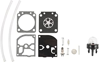 Kizut RB-129 Carburetor Rebuild Kit Assembly for Poulan Pro P3314 PP4218 PP4218AVX PPB4218 PP3516 PP3816 PP3816AV PP4018 PP4218AV Gas Saw Zama C1M-W26C C1M-W26B Carb Primer Bulb Fuel Line Kit