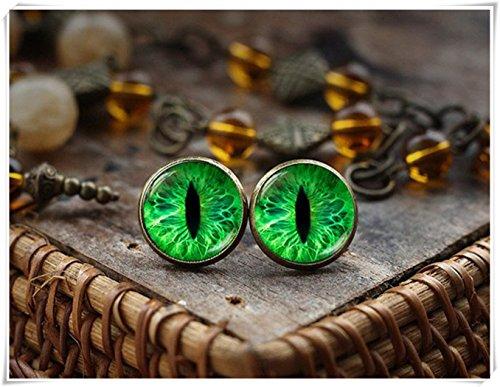 Pendientes de ojo de gato verde, pendientes de ojo de gato, pendientes de ojo de gato, joyas de...