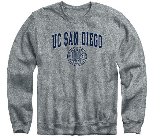 Ivysport University of California - San Diego King Tritans Crewneck Sweatshirt, Heritage, Charcoal Grey, Medium
