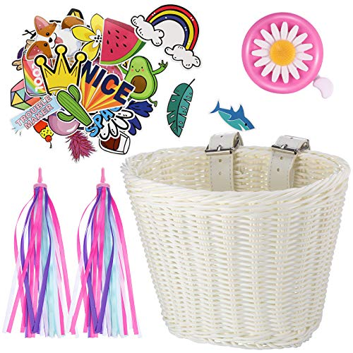 Kid's Bicycle Basket Streamers Set, Children's Bike Handlebar Wicker Basket with Colorful Bike Streamers Bell and Stickers, Bike Decoration Accessories Kit for Girls (White)