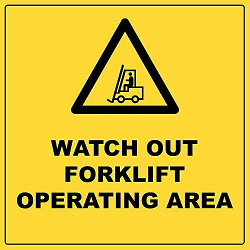 BorisMotley kijk uit heftruck bedieningsgebied waarschuwingsbord, voorzichtigheid zware metalen aluminium gevaarlijke werkplek veiligheidsbord breed, Indoor Outdoor gebruik, zwart/geel (600 MM X 400 MM)