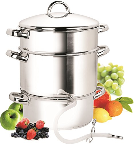 Cook N Home, 28cm 11-Quart Stainless Steel Fruit Juicer Steamer Multipot, Silver