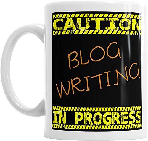 """Taza con texto en inglés """"Caution Blog Writing in Progress Coffee Tea Chocolate Hot Cup"""", para cumpleaños, oficina, decoración de Navidad"""