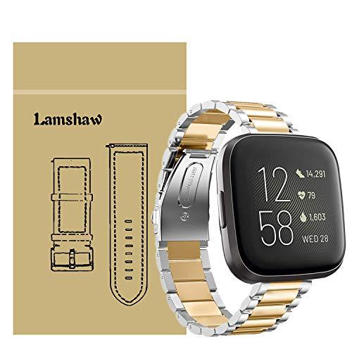 LvBu Armband Kompatibel mit Fitbit Versa 2, Classic Edelstahl Uhrenarmband für Fitbit Versa 2 Fitness-Smartwatch (Silber-Golden)