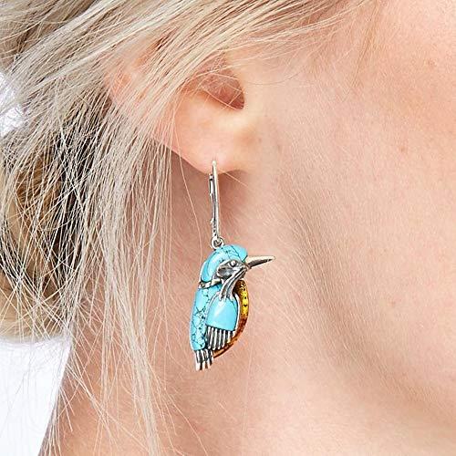 2 Pairs Bluebird Earrings Retro Style Turquoise Bird Earrings Pendant Vintage Bird Earrings with Large Ring Enamel Decor for Women
