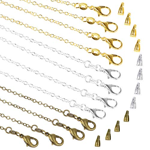 PP OPOUNT 30 Pack NecklaceChains in Gold, Silver and Bronze Plated, Bulk Cable Chain with 60 Pieces Pinch Clasp Bails Dangle Charms for Jewelry Making (18inch/1.2mm)