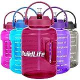 BuildLife Botella de agua de 2,5 l con diseño de estrellas y marcador de tiempo motivador, sin BPA, boca ancha con asa, reutilizable, antigoteo (morado brillante, 2,5 L)