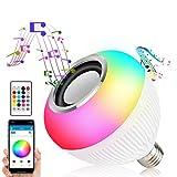 Asiawill Bombilla LED E27 con altavoz inteligente Bluetooth y aplicación inalámbrica + bombilla LED RGBW controlada a distancia con audio y Bluetooth, altavoz con mando a distancia