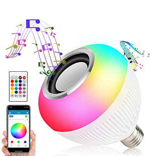 Asiawill E27 - Altoparlante Bluetooth intelligente, lampadina a LED, con app wireless + lampadina a LED RGBW radiocomandata