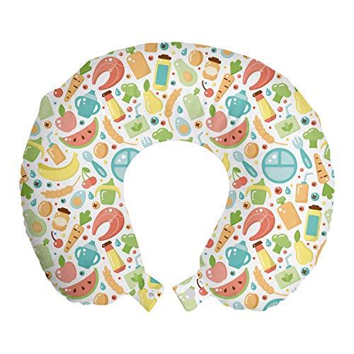 ABAKUHAUS Zalm Reiskussen, Babyvoeding Banana Watermelon, Reisaccessoire met Geheugenschuim voor Vliegtuig en Auto, 30 cm x 30 cm, Veelkleurig