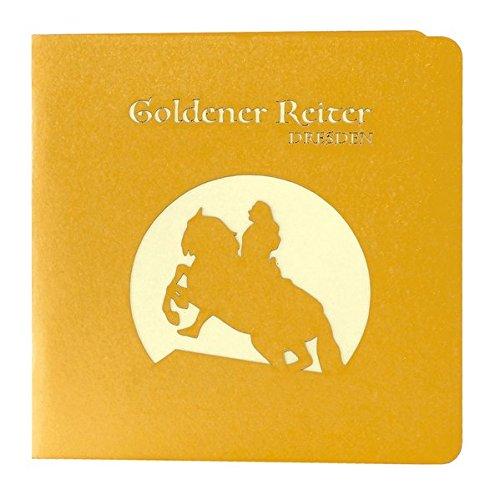 Wunderkarte Goldener Reiter Dresden gold: 3D, Klappkarte, Midi-format