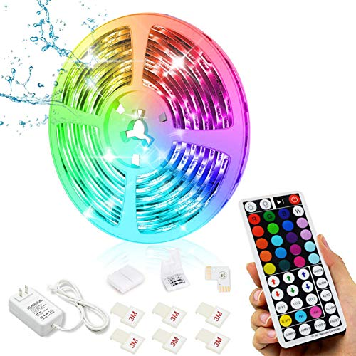 Tiras de LED 5m, Luces LED 24V, kit de cambio de color RGB Impermeable Barra de Luz Que Cambia de Color Respaldo Adhesivo, con Control Remoto de RF de 44 Botones, Para Bares de Fiesta Al Aire Libre