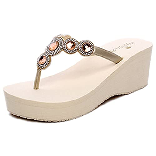 a994303d3 ANBOVER Womens Summer High Wedge Beach Sandals Rhinestone Bohemia Flip-Flops  Platform