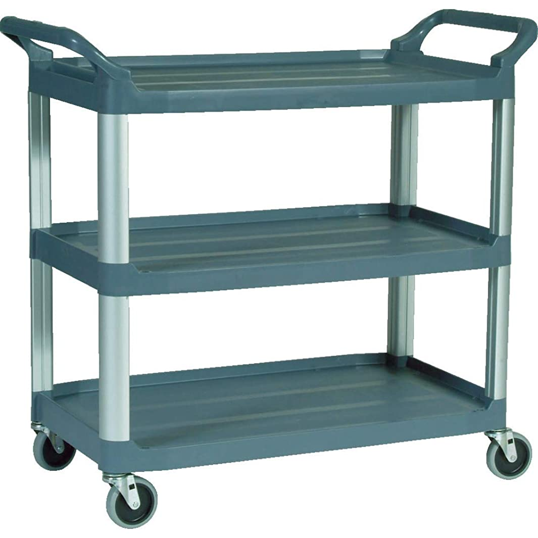 Rubbermaid Commercial Products Heavy Duty 3-Shelf Rolling Service/Utility/Push Cart, 300 lbs. Capacity, Gray, for Foodservice/Restaurant/Cleaning (FG409100GRAY)