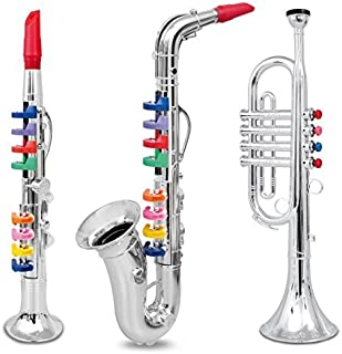 IQ Toys Set of 3 Wind and Brass Musical Instruments with Color Coded Keys; Clarinet, Saxophone, Trumpet