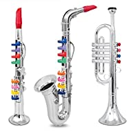 IQ Toys Set of 3 Wind and Brass Musical Instruments with Color Coded Keys - Clarinet, Saxophone, and Trumpet for Toddler Kids Girls and Boys