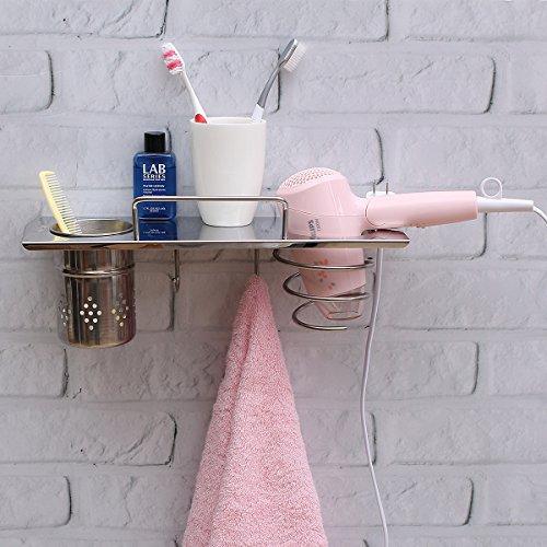 Tapcet - Ménsula multifunción para sostener las cosas del baño/secador, con montaje de pared, de acero inoxidable con 2ganchos