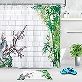 taquxinlaowan Backsteinmauer Bambus Pflaume Duschvorhang Liner Badezimmer