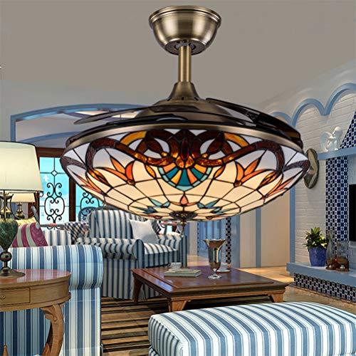 Lámpara de techo estilo Tiffany en blanco con control remoto de iluminación Lámpara de techo Fan Ventilador de techo El dormitorio se puede ocultar con ventilador Lámpara Salón comedor 50cm,Latón