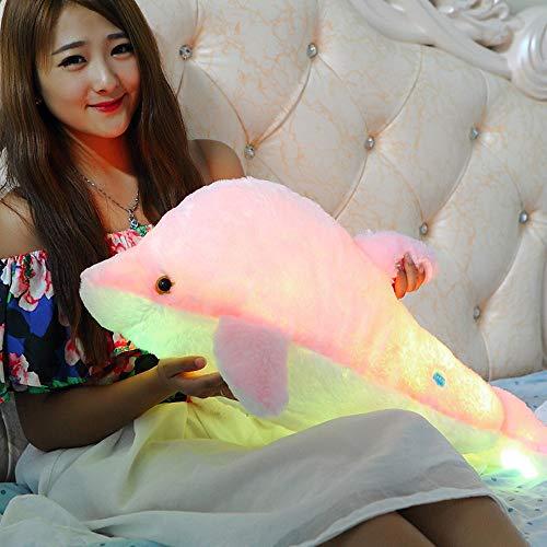 Zinsale 7 Cambio de Color LED aclarar Juguete de delfín Relleno Almohada de Felpa Luz de Noche balancines de Peluche (Rosado, 70cm)