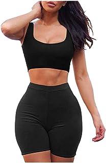 Women Casual Yoga Suit Solid Sleeveless Short Tops Blouse+Short Pants Sports Set