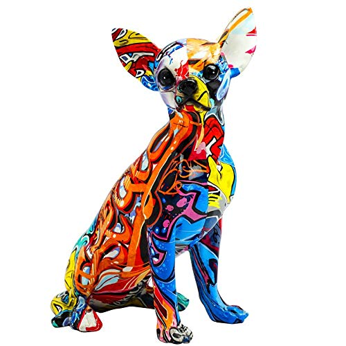 """LIAN 10"""" Tall Painted Graffiti Chihuahua Resin Dog Sculpture Simple Creative Living Room Color Dog Decorations"""