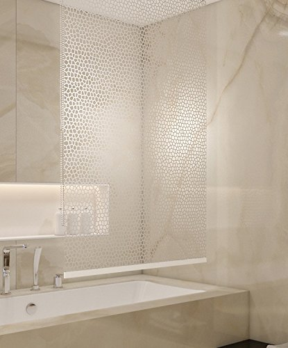 BASIC DUSCHROLLO 80x240 CM PEVA MILKY STONE TRANSPARENT OPTIK! SHOWER ROLLO CURTAIN!