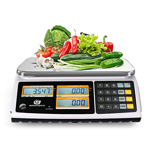 NTEP Price Computing Scale, 60lb Capacity, 0.01lb Readability, Digital Commercial Food Meat Produce Weighing Scale LCD with Backlight, Rechargeable Battery Included, Legal for Trade, Cod 21-001